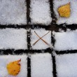 Stock Photo: Autumn-winter tic tac toe game