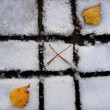 Autumn-winter tic tac toe game — Stock Photo #1238995
