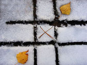 Autumn-winter tic tac toe game — Stock Photo