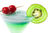 Alcohol cocktail with kiwi and cherry — Stock Photo