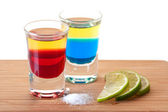 Cocktail collection: Red, Blue Tequila — Stock Photo