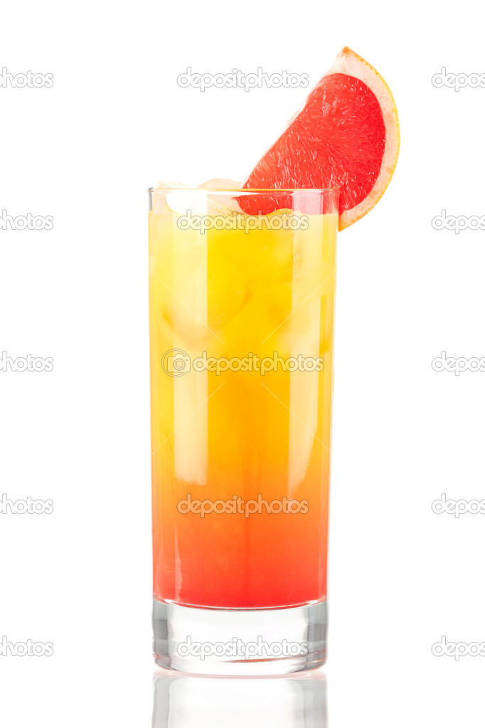 Tequila sunrise alcohol cocktail isolated on white background  Stock Photo #1235303