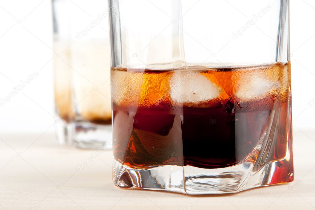 Black russian and white russian cocktail stock image