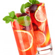 Refreshing fruit sangria (punch) - Stock Photo