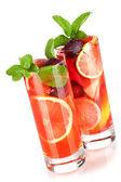 Refreshing fruit sangria (punch) — Stock Photo