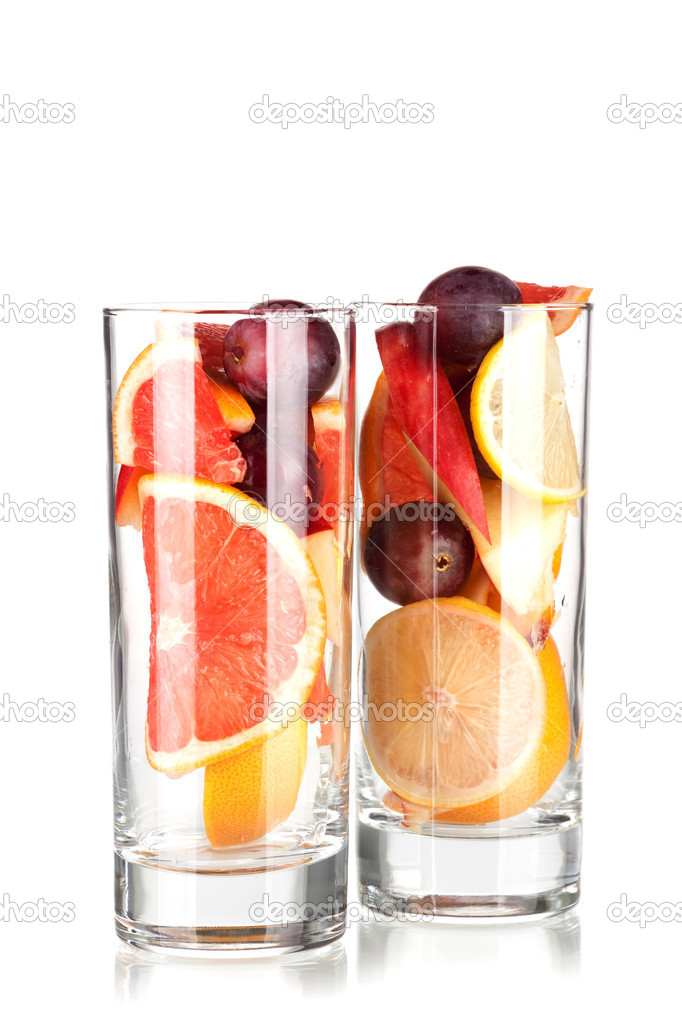 Cocktail collection: Refreshing fruit sangria (punch) without wine isolated on white background — Stock Photo #1335540