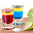 Stock Photo: Cocktails: Red and Blue Tequila