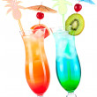 Two tropical alcohol cocktails — Stock Photo