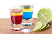 Cocktails: Red and Blue Tequila — Stock Photo