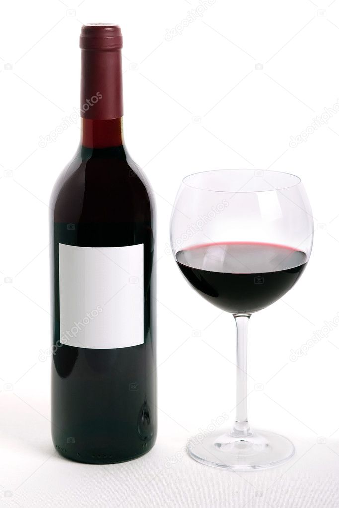Bottle and glass of red wine isolated on white background  Stock Photo #1389566