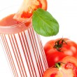 Fresh tomato juice with basil — Stock Photo