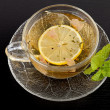 Cup of green tea with lemon and mint — Stock Photo