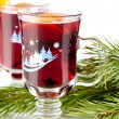 Stock Photo: Mulled wine (Punch) with orange slices