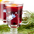 Mulled wine (Punch) with orange slices — Stock Photo