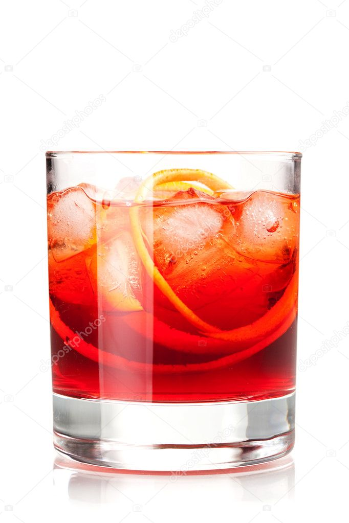 Alcohol cocktail collection - Negroni. Isolated on white background — Stock Photo #1819968