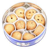 Danish Cookies in round box — Stock Photo