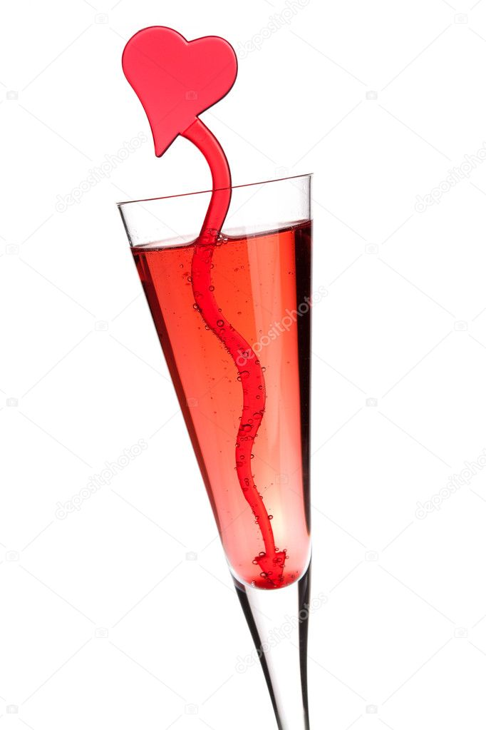 Red champagne alcohol cocktail with heart decoration. Isolated on white background — Stock Photo #1945504