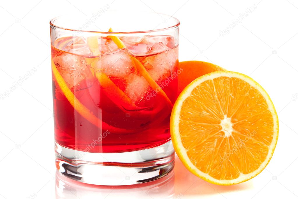 Alcohol cocktail collection - Negroni. Isolated on white background  Stock Photo #1945515