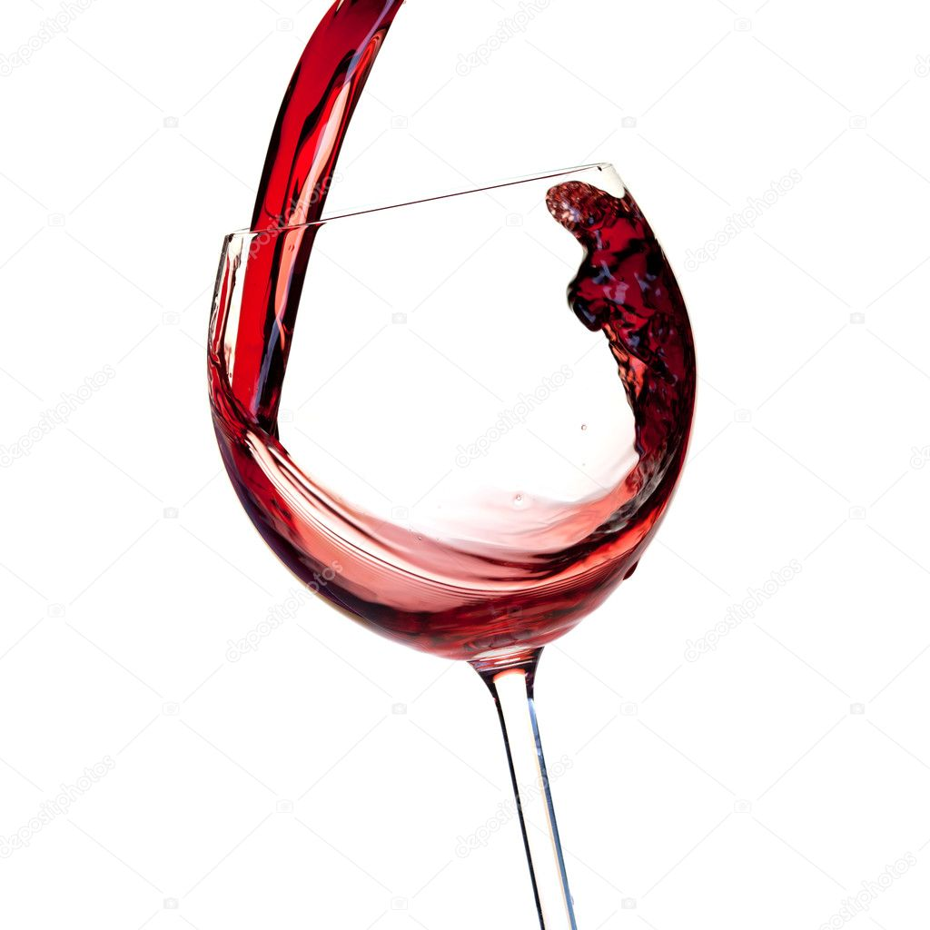 Wine collection - Red wine is poured into a glass. Closeup. Isolated on white background — Stock Photo #1962000
