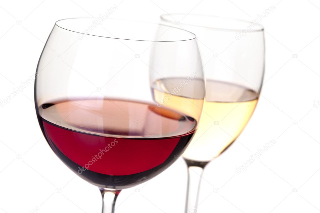 Wine collection - Red and white wine in glasses. Closeup. Isolated on white background — Stock Photo #1994664