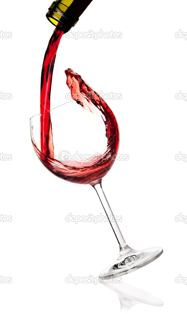 Wine collection -  Red wine is poured into a falling glass. Isolated on white background — Stock Photo #2005887