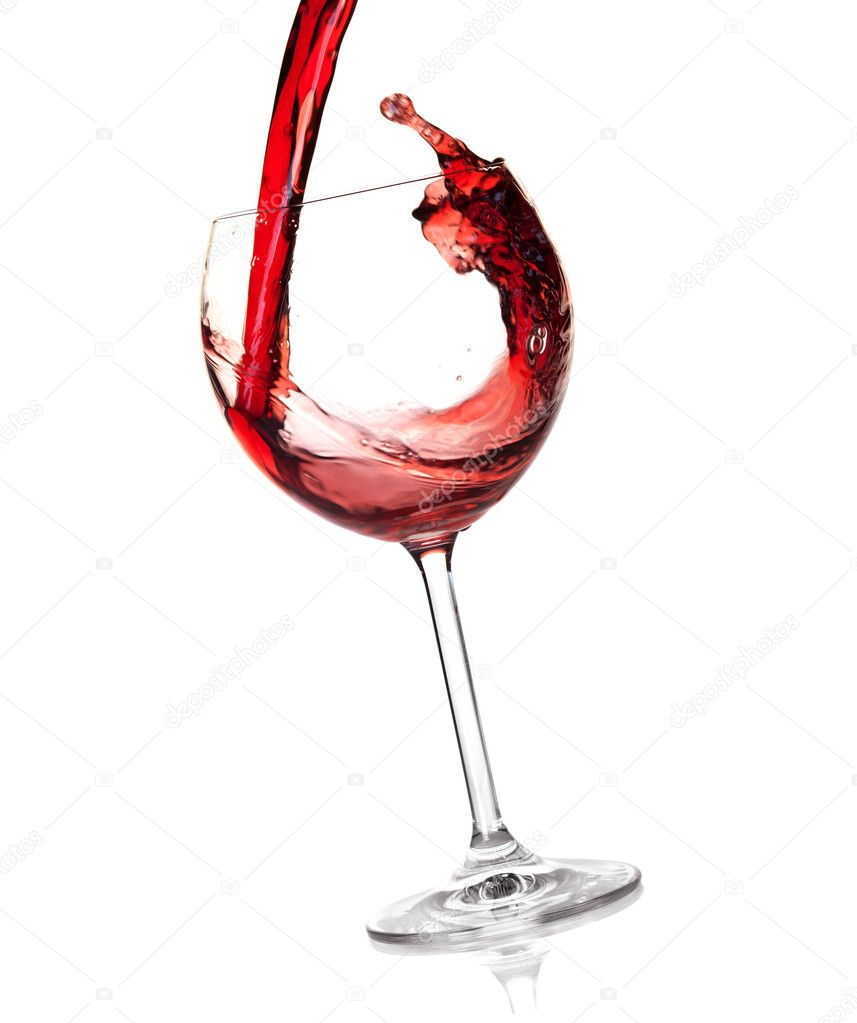 Wine collection - Red wine is poured into a glass. Isolated on white background — Stock Photo #2170632
