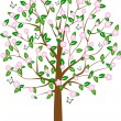 Tree with the butterflies — Stock Vector