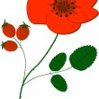 Stock Vector: Red poppy flower