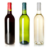 Three closed wine bottles without labels — Stock Photo