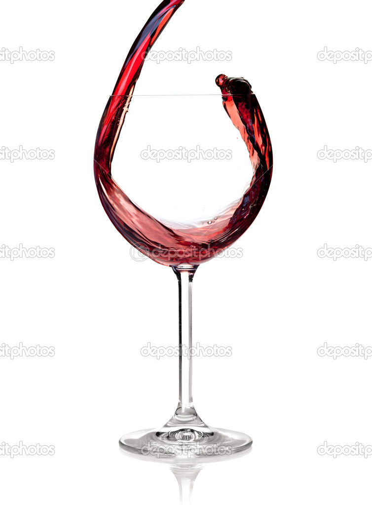 Wine collection - Red wine is poured into a glass. Isolated on white background  Lizenzfreies Foto #2331121