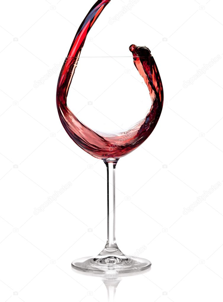 Wine collection - Red wine is poured into a glass. Isolated on white background  Foto de Stock   #2331121