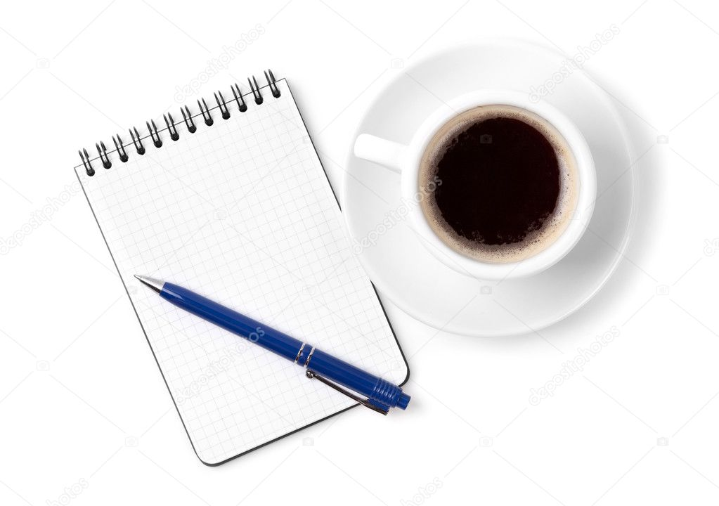 Blank organizer with pen and espresso cup. Isolated on white background — Stock Photo #2487902