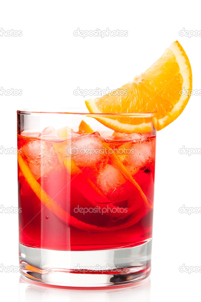 Alcohol cocktail collection - Negroni with orange slice. Isolated on white background — Photo #2547990