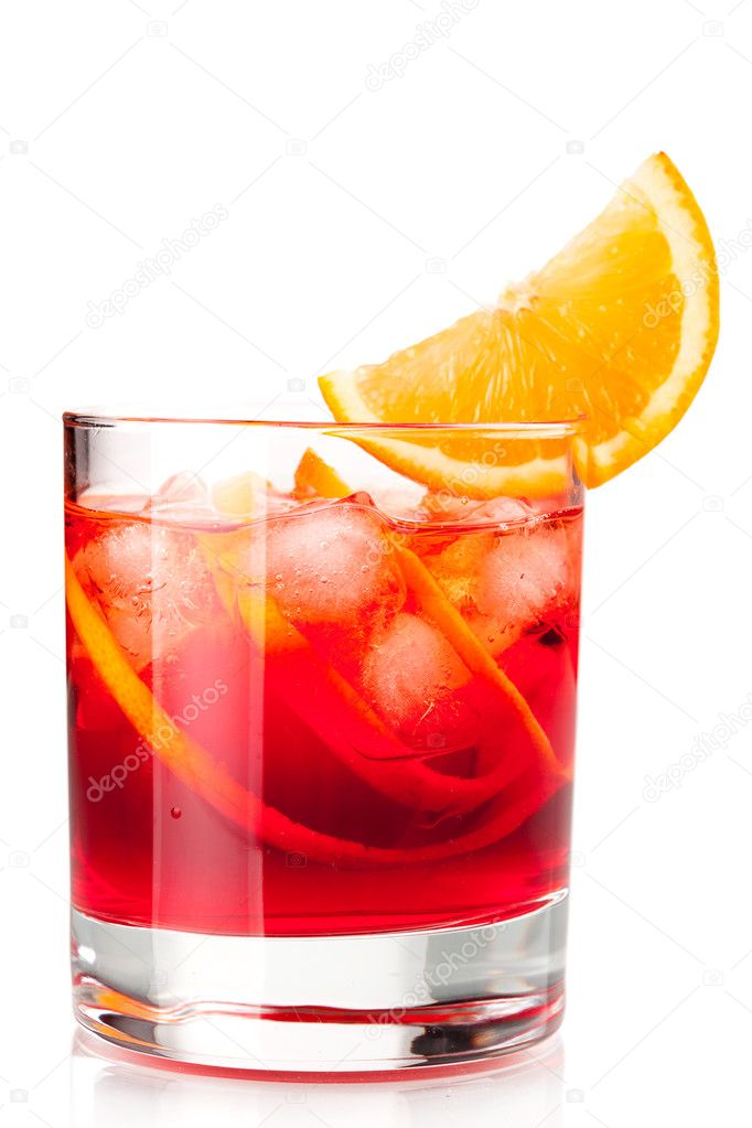 Alcohol cocktail collection - Negroni with orange slice. Isolated on white background — Stockfoto #2547990