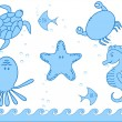 Marine inhabitants — Stock Vector