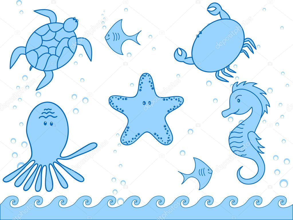 Marine inhabitants and the fish — Stock Vector #2548066