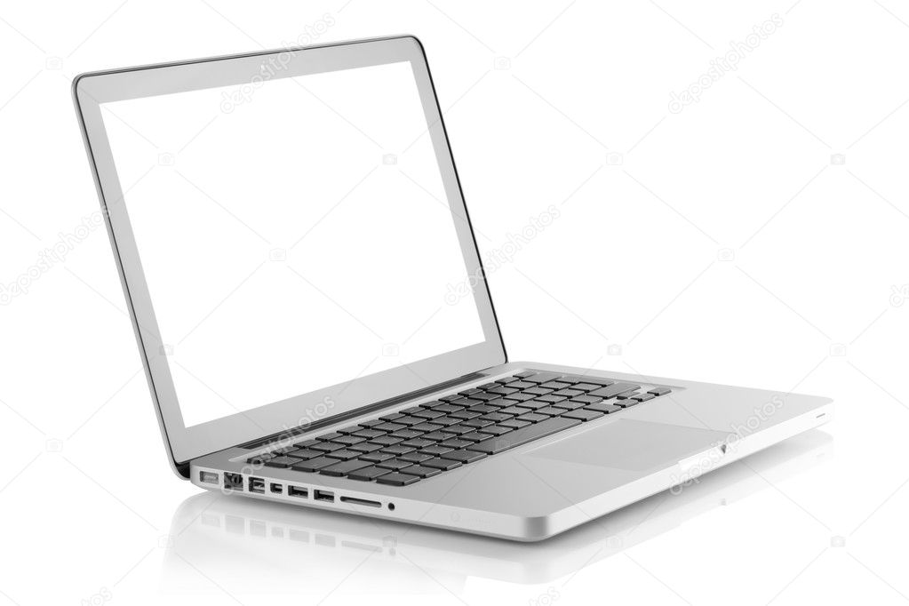 Laptop with blank white screen. Isolated on white background  Stock Photo #2571137