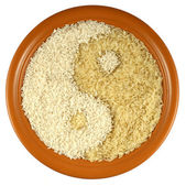 Plate of different kinds of rice — Stock Photo