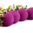 Christmas balls in the tinsel — Stock Photo