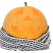 Halloween pumpkin face with a scarf — Stock Photo #1238633