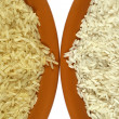 Stock Photo: White and yellow (parboiled) rice