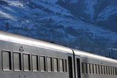 Train on the mountain background — Stock Photo