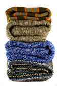 Pile of warm sweaters — Stock Photo