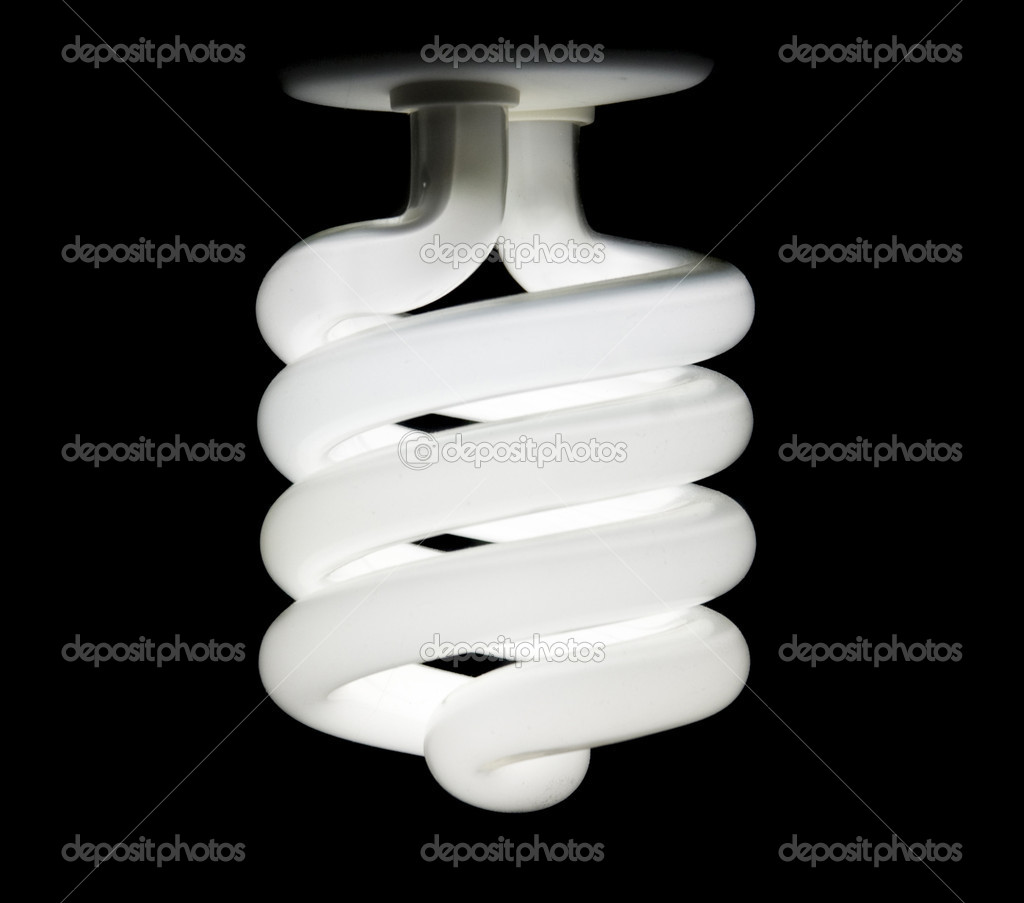 Energy saving lamp on black background — Stock Photo #1252463