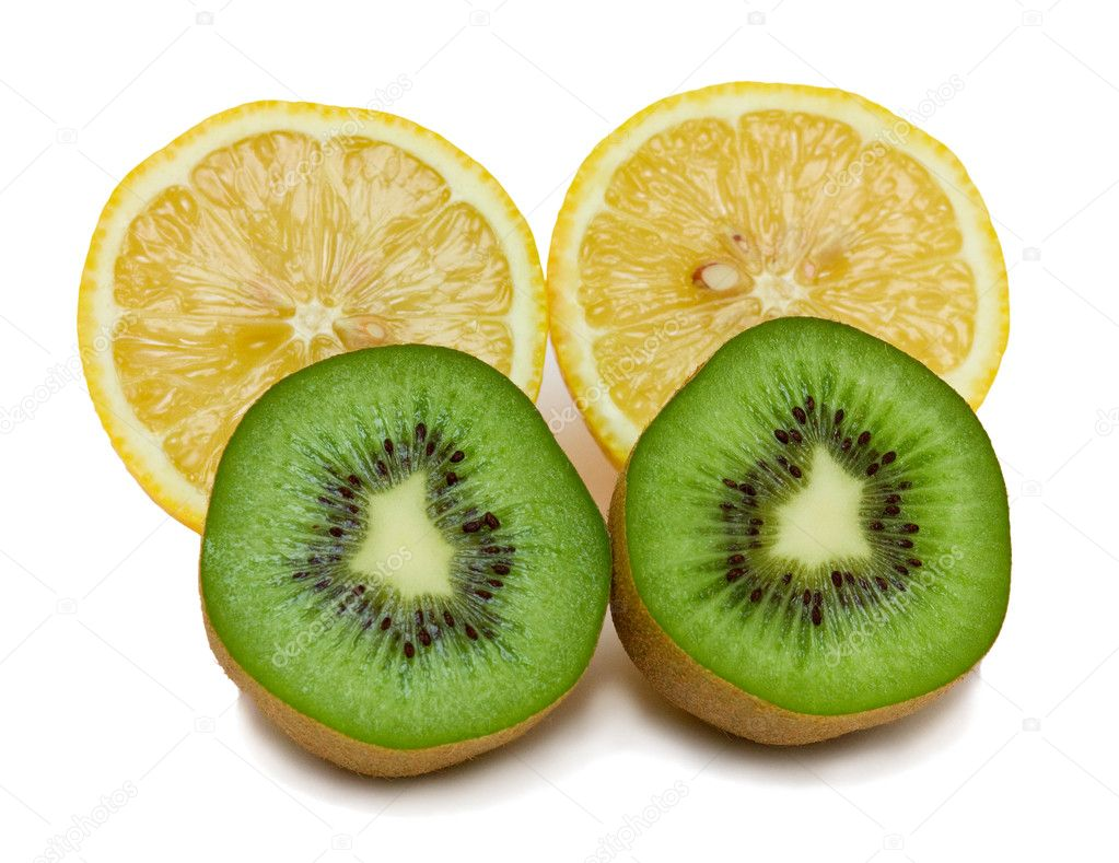 Ripe cut kiwi and lemons. Isolated on white background. — Stock Photo #1242207
