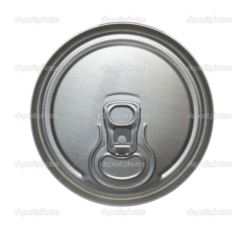 Top of closed aluminum can for beverages. Isolation on white. — Stock Photo #1246919