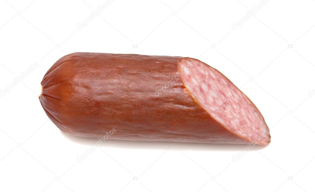 Piece of salami sausage. Isolated over white.  Stock Photo #1433626