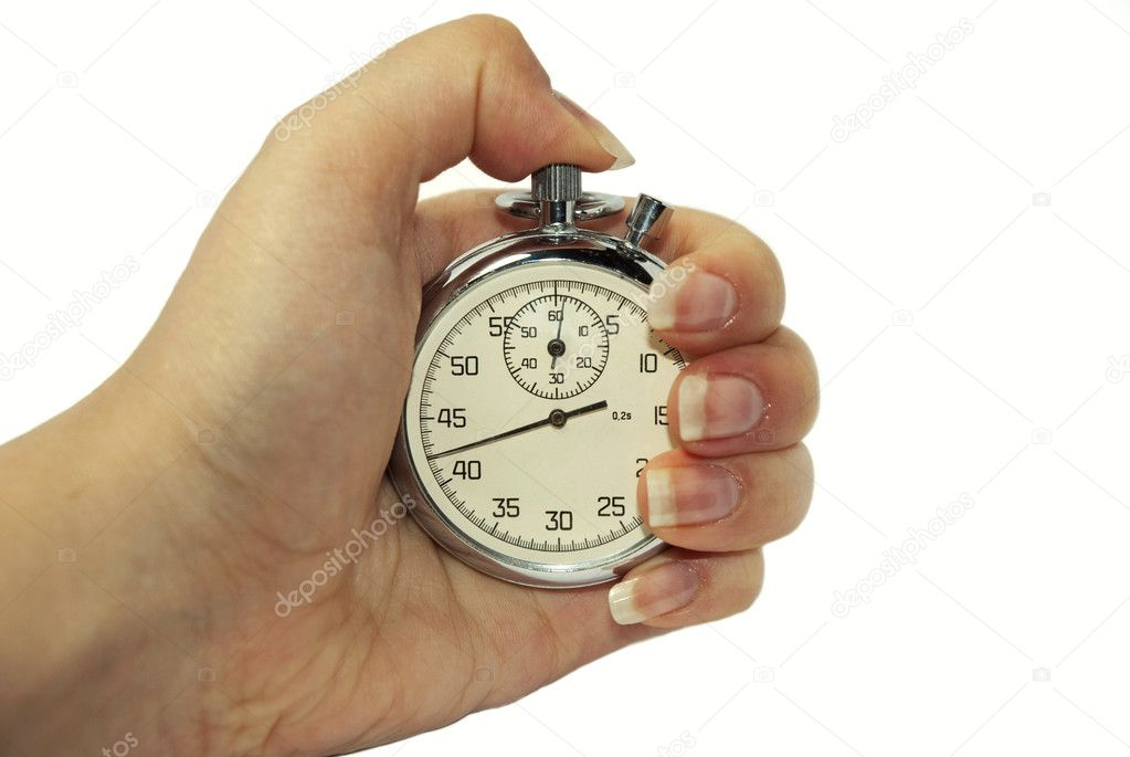 Stopwatch in a hand isolated on white background — Stock Photo #1258129