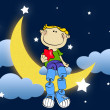 Royalty-Free Stock Photo: Boy on moon