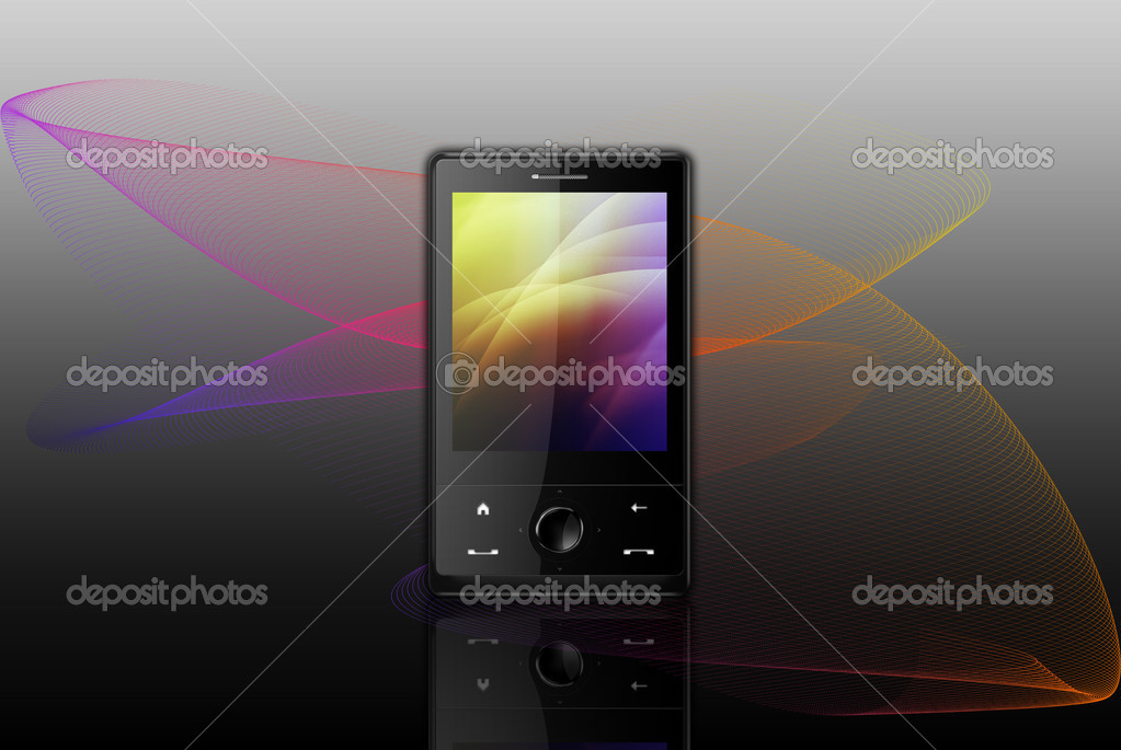 Black cell phone on abstract colorful background  Stock Photo #1263760